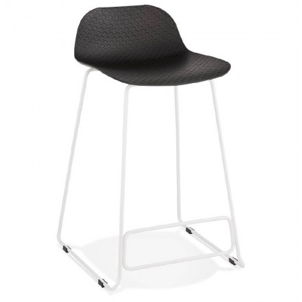 Bar stool barstool design mid-height Ulysses MINI feet (black) white metal