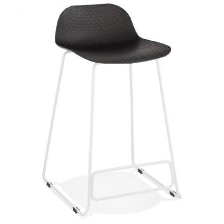 Tabouret de bar chaise de bar mi-hauteur design ULYSSE MINI pieds métal blanc (noir)