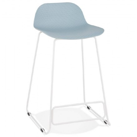 Bar stool barstool design mid-height Ulysses MINI feet (blue) white metal