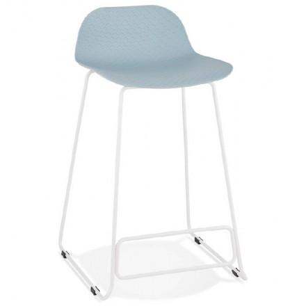 Tabouret de bar chaise de bar mi-hauteur design ULYSSE MINI pieds métal blanc (bleu ciel)