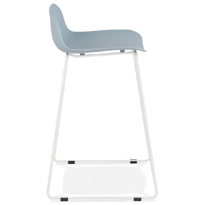 tabouret de bar chaise de bar mi hauteur design ulysse mini pieds m tal blanc bleu ciel. Black Bedroom Furniture Sets. Home Design Ideas
