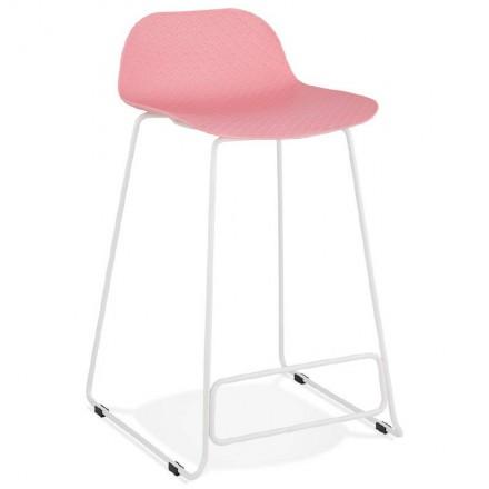Bar taburete taburete de bar diseño media altura Ulises MINI pies blanco metal (polvo de color rosa)