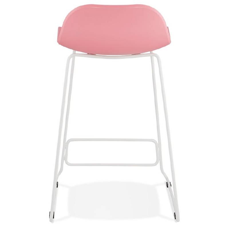 tabouret de bar chaise de bar mi hauteur design ulysse mini pieds m tal blanc rose poudr. Black Bedroom Furniture Sets. Home Design Ideas