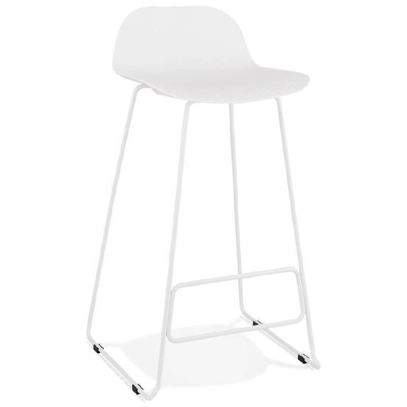Tabouret de bar chaise de bar design ULYSSE pieds métal blanc (blanc) - image 37928
