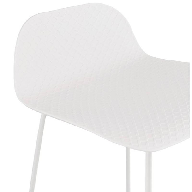 Tabouret de bar chaise de bar design ULYSSE pieds métal blanc (blanc) - image 37933
