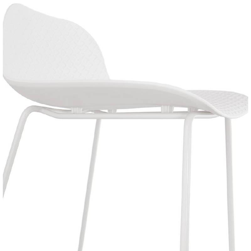 Tabouret de bar chaise de bar design ULYSSE pieds métal blanc (blanc) - image 37935
