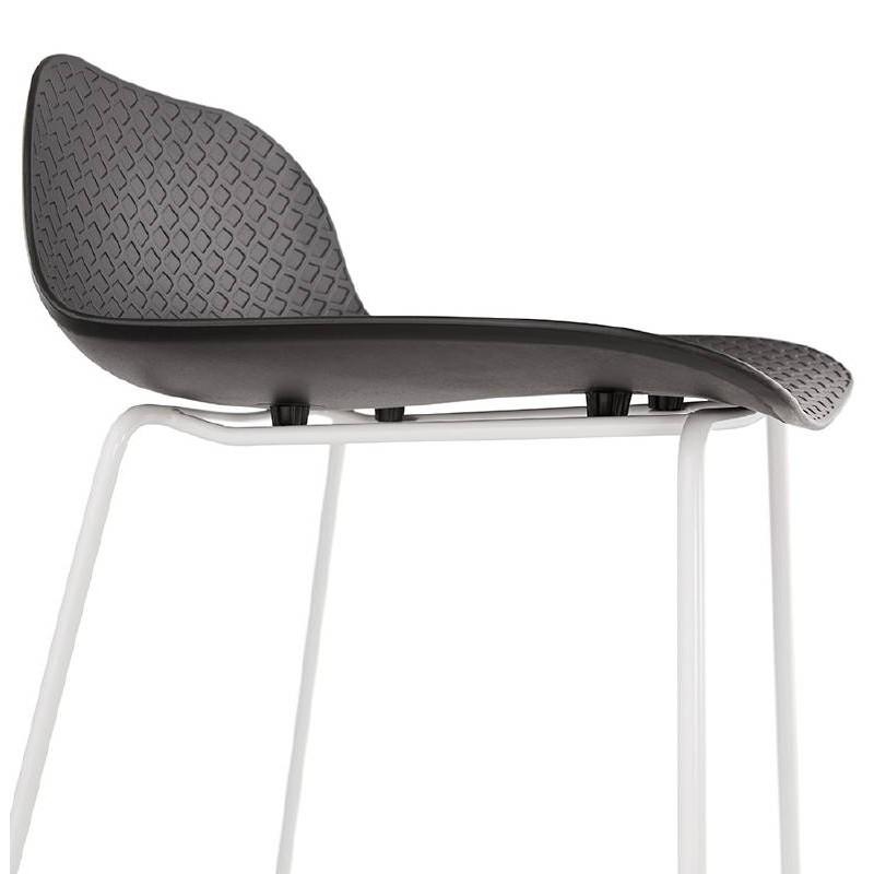 tabouret de bar chaise de bar design ulysse pieds m tal blanc noir. Black Bedroom Furniture Sets. Home Design Ideas