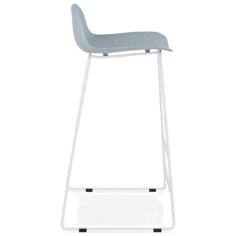 Tabouret de bar chaise de bar design ULYSSE pieds métal blanc (bleu ciel) - image 37970