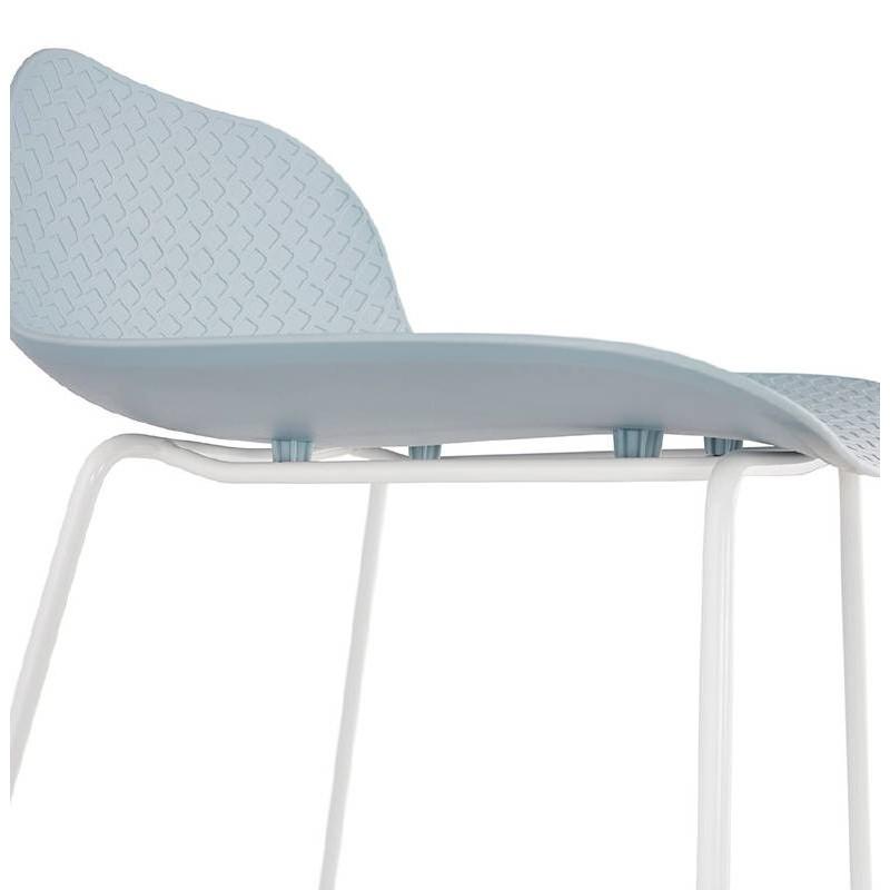 Tabouret de bar chaise de bar design ULYSSE pieds métal blanc (bleu ciel) - image 37975