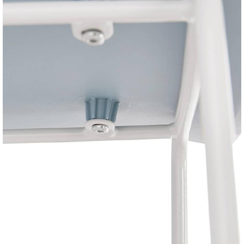 Tabouret de bar chaise de bar design ULYSSE pieds métal blanc (bleu ciel) - image 37976