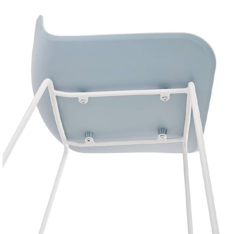 Tabouret de bar chaise de bar design ULYSSE pieds métal blanc (bleu ciel) - image 37977