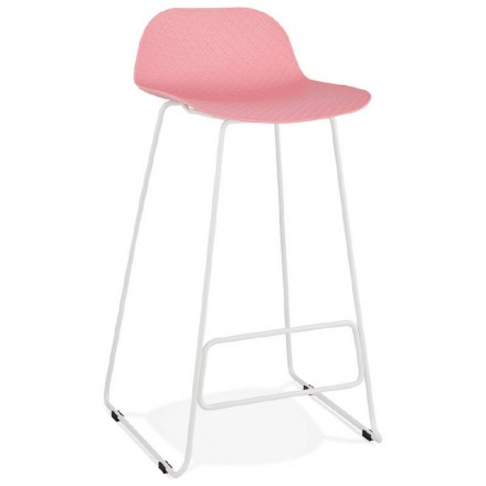 Bar stool barstool design Ulysses feet white metal (powder pink)