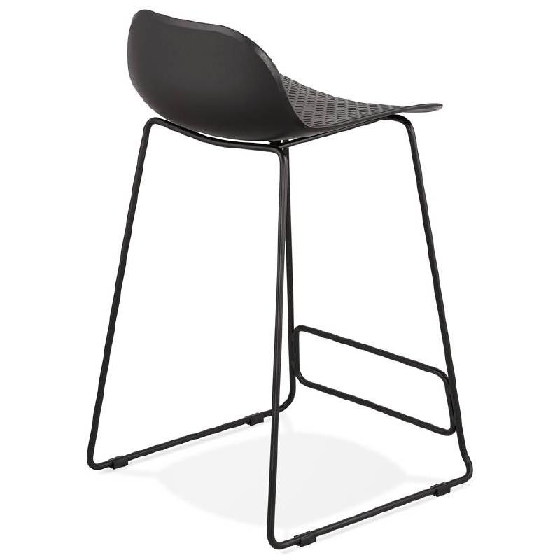 Tabouret de bar chaise de bar mi hauteur design ulysse mini pieds m tal noir noir - Hauteur d un tabouret de bar ...