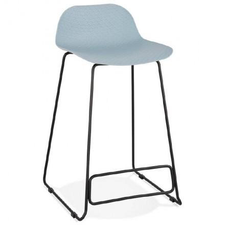 Tabouret de bar chaise de bar mi-hauteur design ULYSSE MINI pieds métal noir (bleu ciel)