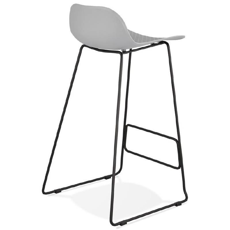 Hocker Barhocker Design Ulysses Füße schwarz Metall (hellgrau)