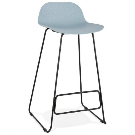 Bar stool design bar Ulysses feet (sky blue) black metal Chair
