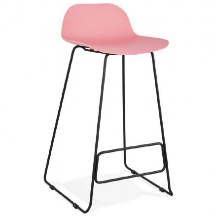 Bar taburete taburete de bar diseño metal de pies negro Ulises (polvo rosado)