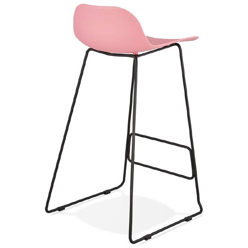Bar taburete taburete de bar diseño metal de pies negro Ulises (polvo rosado) - image 38113