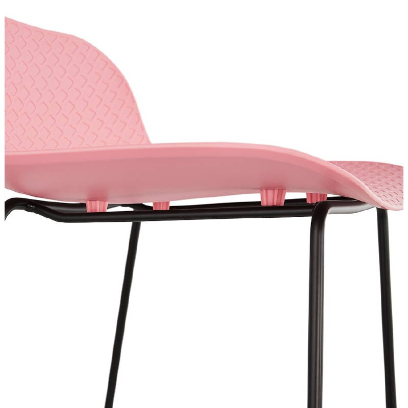 Bar taburete taburete de bar diseño metal de pies negro Ulises (polvo rosado) - image 38117
