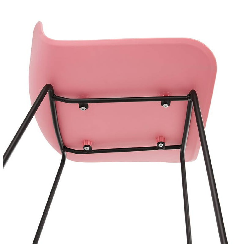 Bar taburete taburete de bar diseño metal de pies negro Ulises (polvo rosado) - image 38119