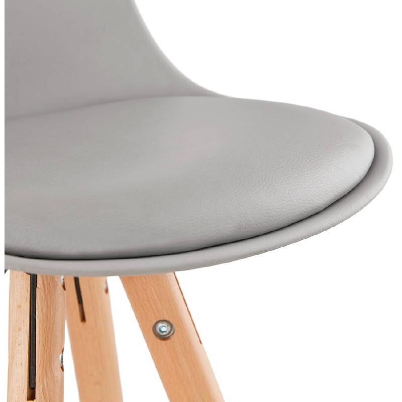 Tabouret de bar mi-hauteur design scandinave OCTAVE MINI (gris clair) - image 38248