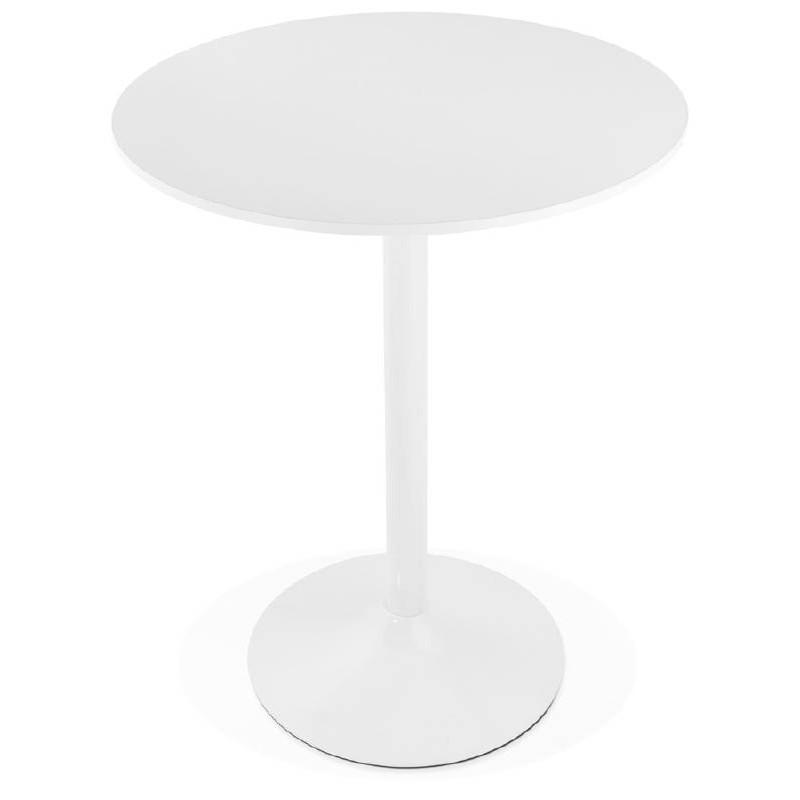 Table haute mange-debout design LUCIE en bois pieds métal blanc (Ø 90 cm) (blanc) - image 38257
