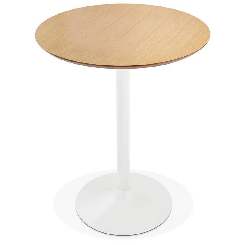 Table haute mange-debout design LAURA en bois pieds métal blanc (Ø 90 cm) (finition chêne naturel) - image 38272