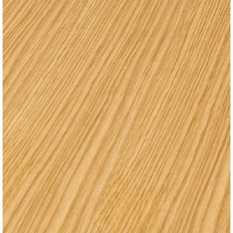 Table haute mange-debout design LAURA en bois pieds métal blanc (Ø 90 cm) (finition chêne naturel) - image 38273