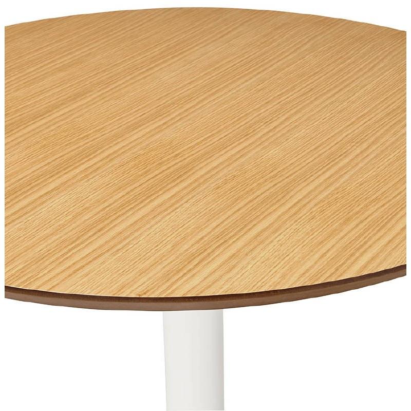 Table haute mange-debout design LAURA en bois pieds métal blanc (Ø 90 cm) (finition chêne naturel) - image 38274