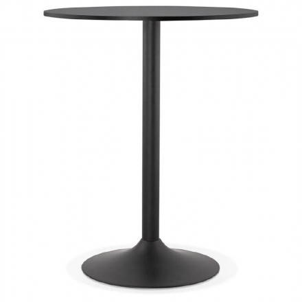 Table high high table LUCIE design wooden feet (Ø 90 cm) black metal (black)