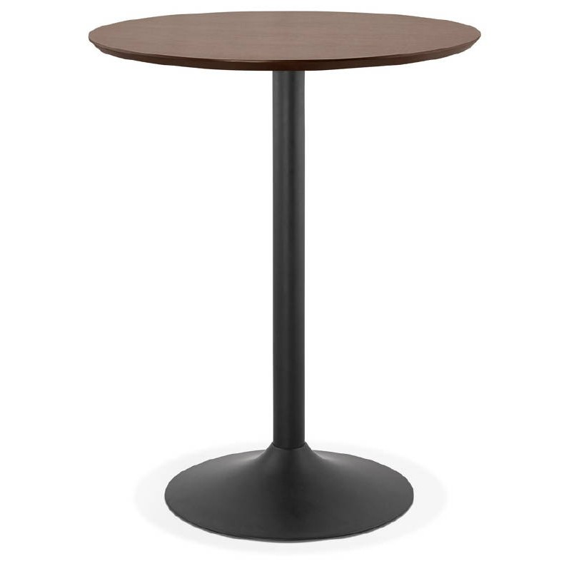 Table haute mange-debout design LAURA en bois pieds métal noir (Ø 90 cm) (finition noyer) - image 38286