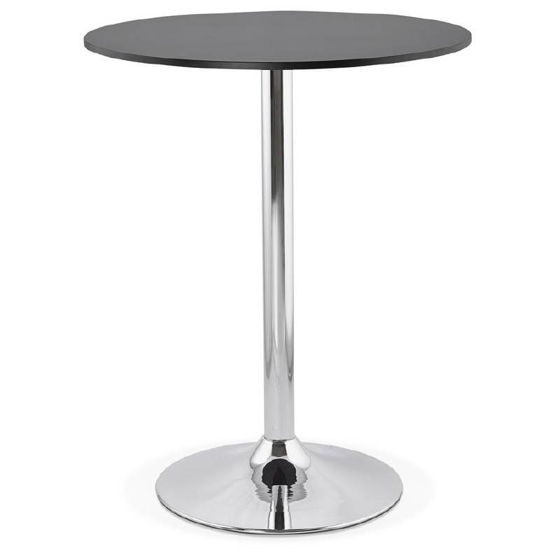Table haute mange-debout design LUCIE en bois pieds métal chromé (Ø 90 cm) (noir)