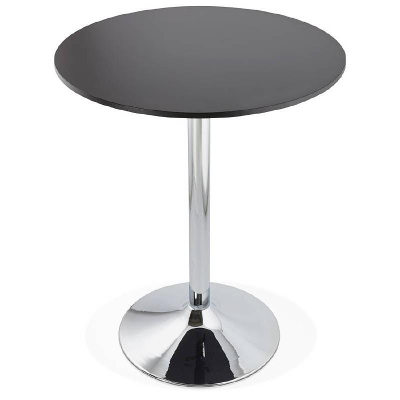 Table haute mange-debout design LUCIE en bois pieds métal chromé (Ø 90 cm) (noir) - image 38307