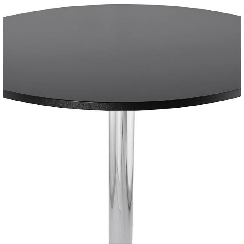 Table haute mange-debout design LUCIE en bois pieds métal chromé (Ø 90 cm) (noir) - image 38308