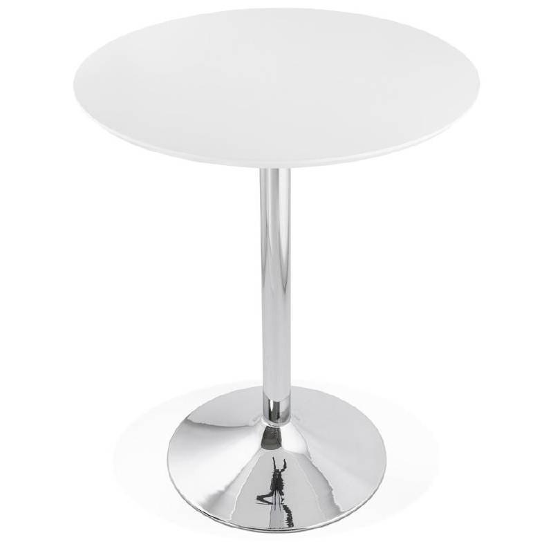 Table haute mange-debout design LAURA en bois pieds métal chromé (Ø 90 cm) (blanc) - image 38314