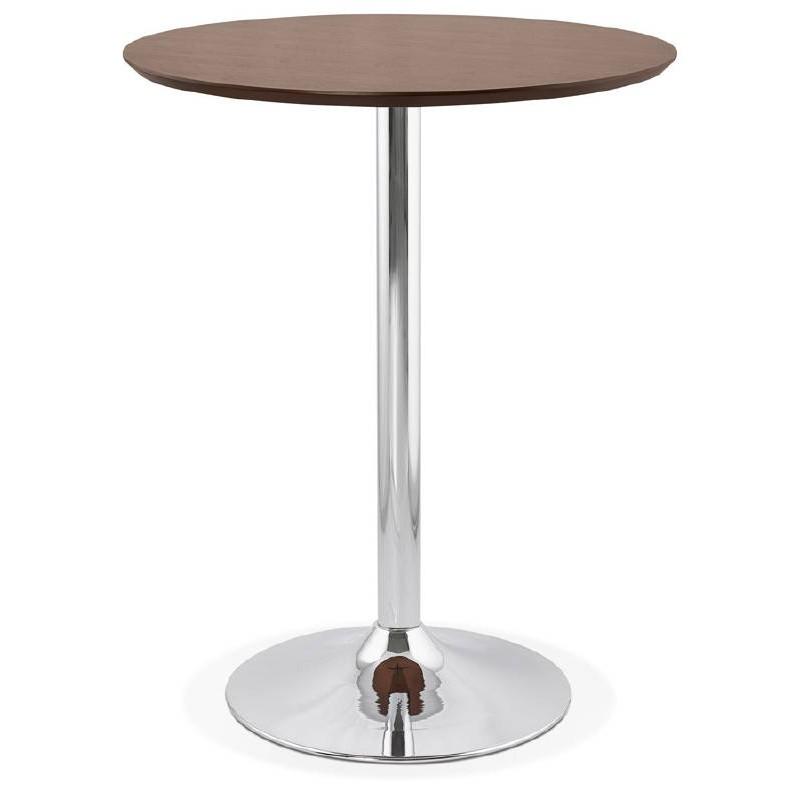 Table haute mange-debout design LAURA en bois pieds métal chromé (Ø 90 cm) (finition noyer)