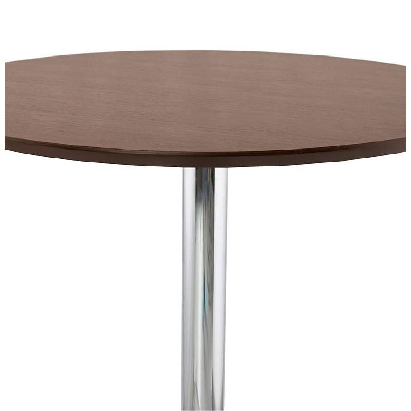 Table haute mange-debout design LAURA en bois pieds métal chromé (Ø 90 cm) (finition noyer) - image 38321