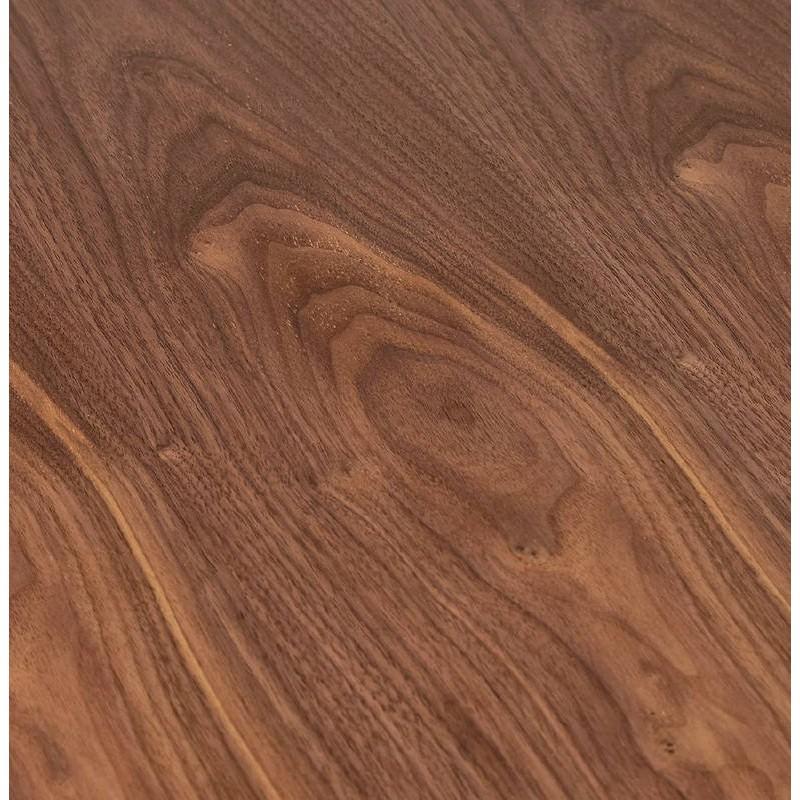 Table haute mange-debout design LAURA en bois pieds métal chromé (Ø 90 cm) (finition noyer) - image 38322