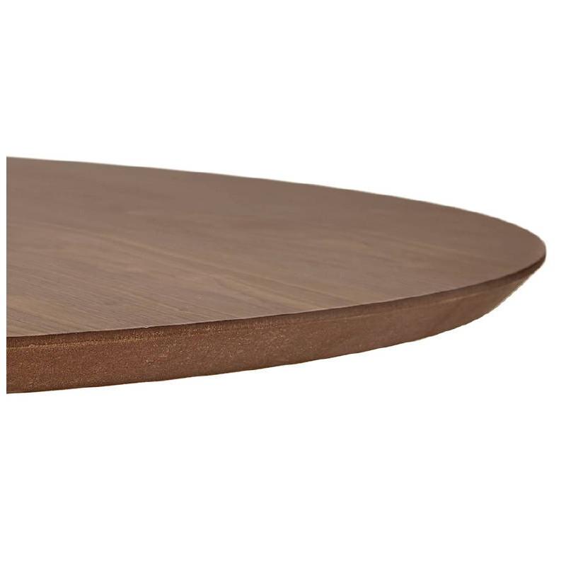 Table haute mange-debout design LAURA en bois pieds métal chromé (Ø 90 cm) (finition noyer) - image 38323