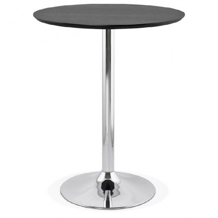 Table high high table LAURA design wooden feet metal chrome (O 90 cm) (black)