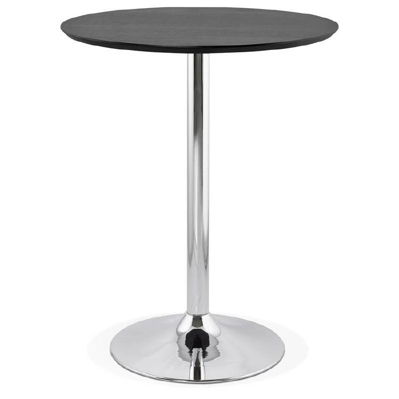 Table haute mange-debout design LAURA en bois pieds métal chromé (Ø 90 cm) (noir) - image 38325