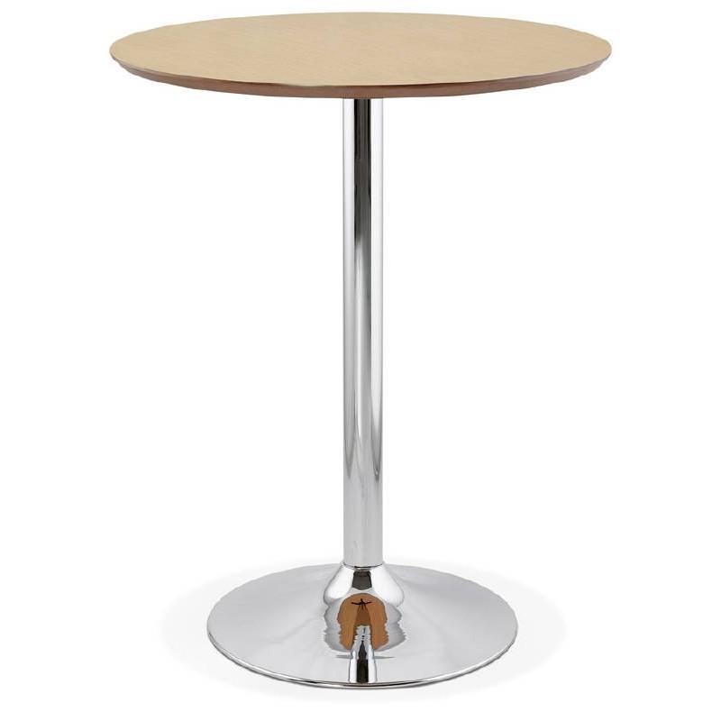 Table haute mange-debout design LAURA en bois pieds métal chromé (Ø 90 cm) (finition chêne naturel) - image 38500