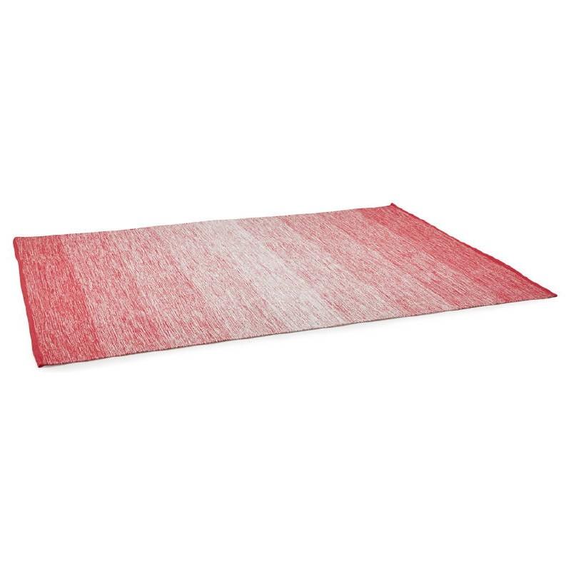 Tapis design rectangulaire (230 cm X 160 cm) BASILE en coton (rouge) - image 38540