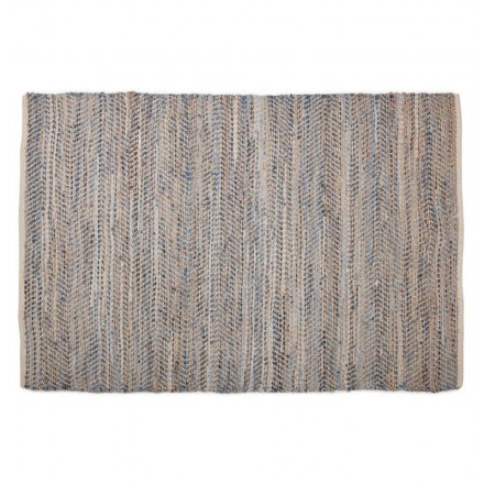 Carpet design rectangular (230 cm X 160 cm) BELINDA in jeans and hemp (blue, Brown)