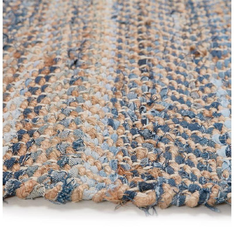 Tapis design rectangulaire (230 cm X 160 cm) BELINDA en jeans et chanvre (bleu, marron) - image 38568