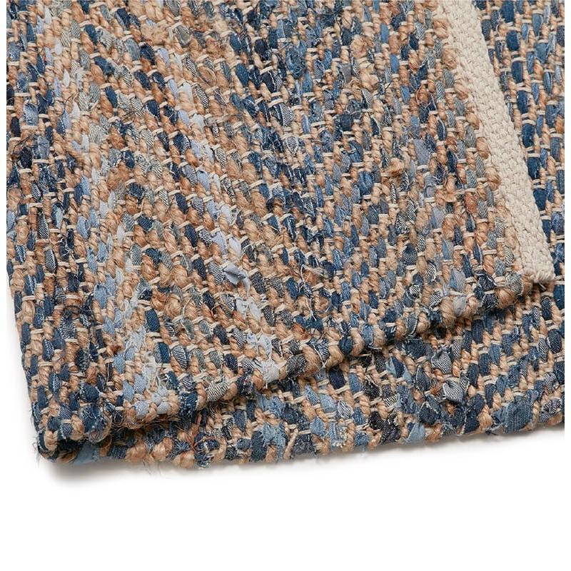 Tapis design rectangulaire (230 cm X 160 cm) BELINDA en jeans et chanvre  (bleu, marron) - Tapis moderne et contemporain