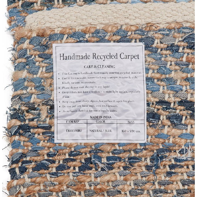 teppich design rechteckig 230 x 160 cm belinda in jeans und hanf blau braun. Black Bedroom Furniture Sets. Home Design Ideas