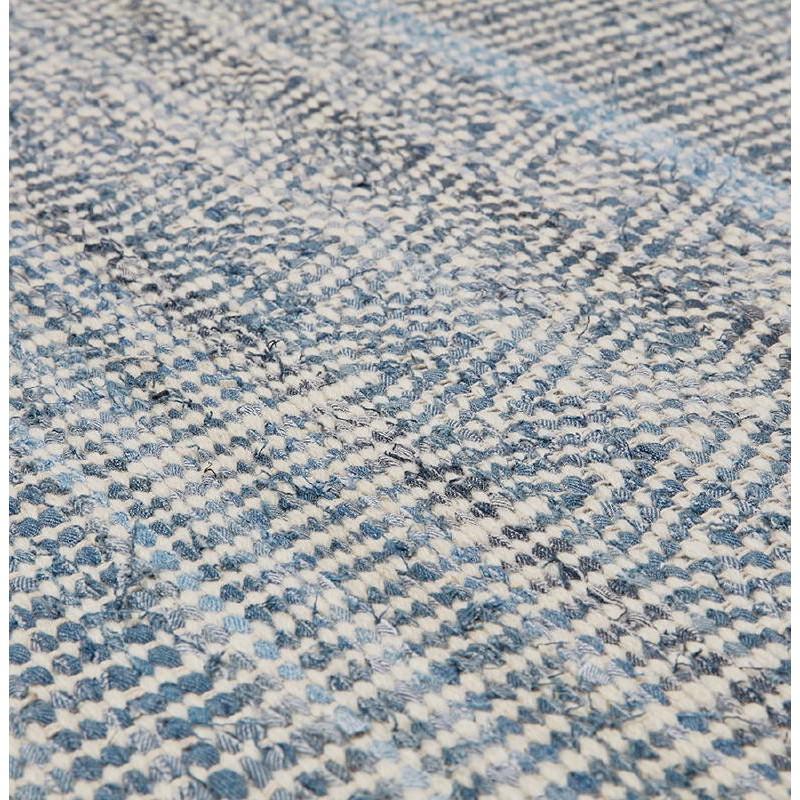 Tapis design rectangulaire (230 cm X 160 cm) BALBINE en jeans et laine (bleu, beige) - image 38582