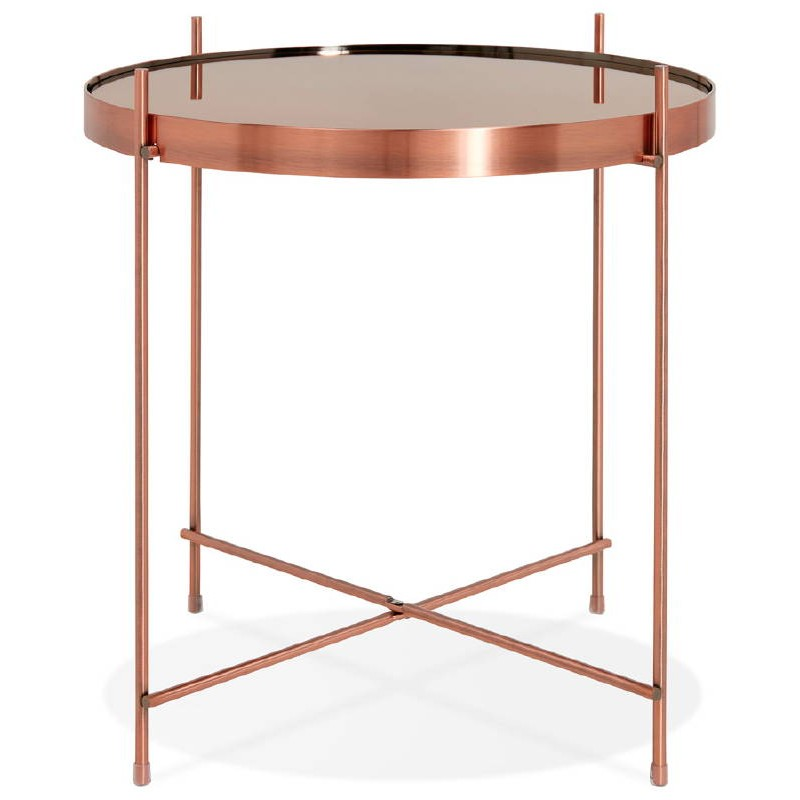 Table d'appoint pliable, bout de canapé ZOE en verre et métal (cuivre) - image 38696