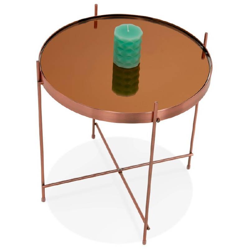 Table d'appoint pliable, bout de canapé ZOE en verre et métal (cuivre) - image 38703